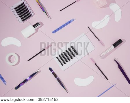 Things For The Work Of Lash-makers, Artificial Eyelashes, Microbrachis, Glue, Tweezers, Combs, Brush