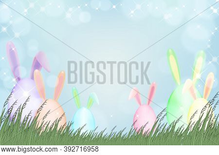 Happy Easter Greeting Card With Spring Nature,easter Bunny Egg Hunt In Green Field.vector Spring Bac