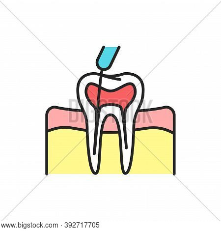 Teeth Canal Treatment Color Line Icon. Pictogram For Web Page, Mobile App, Promo.