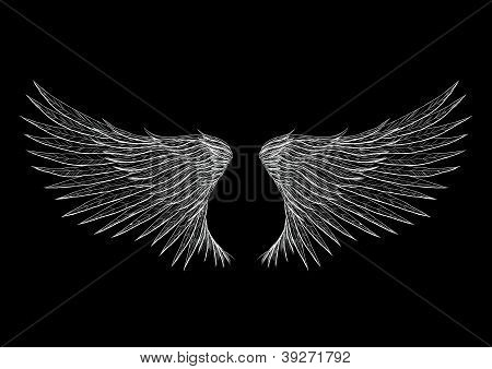 Tattoo wings isolated on black background vector illustration