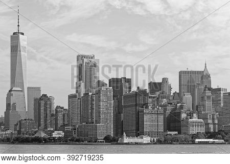 New York City, Usa, September 12, 2017 : Lower Manhattan From The Bay. One Wordl Trade Center Is The