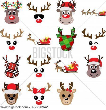 Set Of Funny Christmas Reindeers Vector Illustration