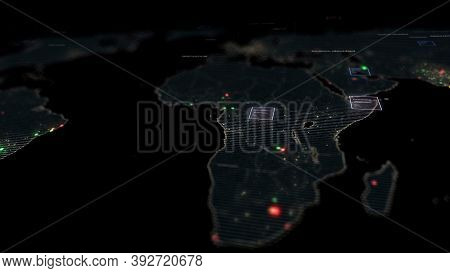Digital Surveillance World Map, Concept Of Global Businesses, Global Innovation And Technology, Glob
