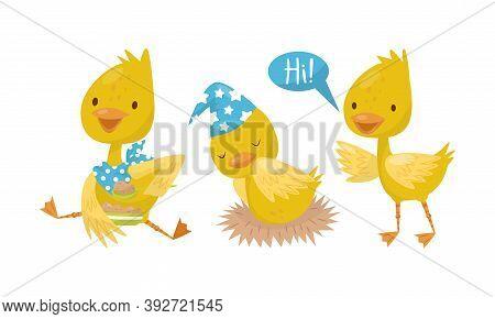 Cute Yellow Duckling Eating Porridge, Sleeping In Nest And Greeting Vector Set