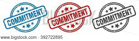 Commitment Stamp. Commitment Round Isolated Sign. Commitment Label Set