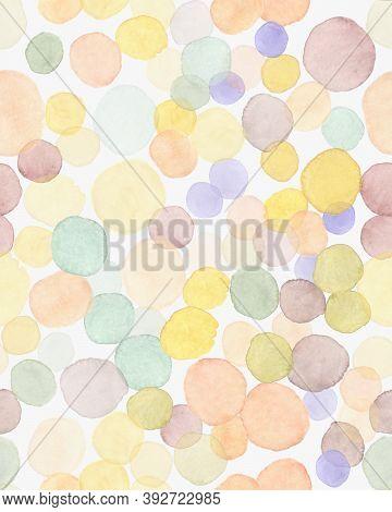 Children Background. Modern Birthday Splatter. Rainbow Party Design. Watercolour Blots Fabric. Polka