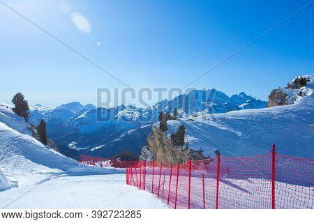 Dolomites Dolomiti Italy In Wintertime Beautiful Alps Winter Mountains And Ski Slope Cortina D'ampez