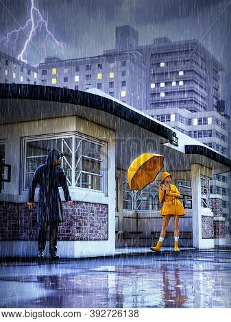 Young Pretty Woman In Bright Yellow Rain Coat Holding An Umbrella As A Man Watches Stalking In The B