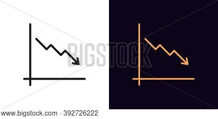 Outline Downfall Chart Icon. Linear Drop Chart Sign, Down Arrow With Editable Stroke. Financial Fore
