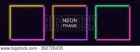 Neon Square Frame. Set Of Quadrate Neon Border In 2 Angular Parts. Geometric Shape With Copy Space,