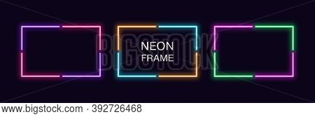 Neon Rectangle Frame. Set Of Rectangular Neon Border In 4 Angular Parts. Vector Geometric Shape With