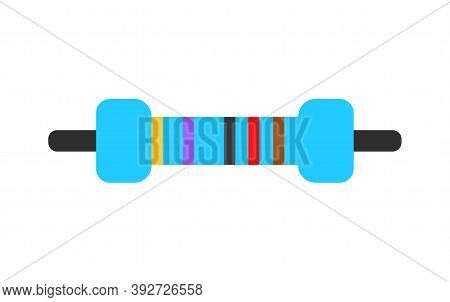 Electrical Resistor Symbol Isolated Vector Colored Flat Style. Thru-hole Metal Film Resistor 1 And 4