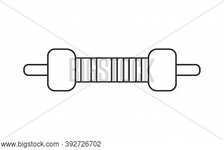 Electrical Resistor Symbol Isolated Vector Outline Style. Thru-hole Metal Film Resistor 1 And 4w Ico