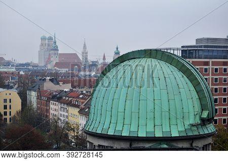Aerial View Landscape Cityscape Of Munich City With Roof Dome Of Des Deutsches Museum Bibliothek Lib