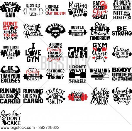 Set Of Gym Quotes. Sport Citations Vector