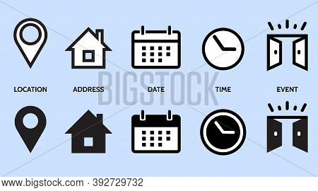 Event, Location, Address, Date, Time, Contact, Calendar, Home. Set Icons Vector Line Illustration