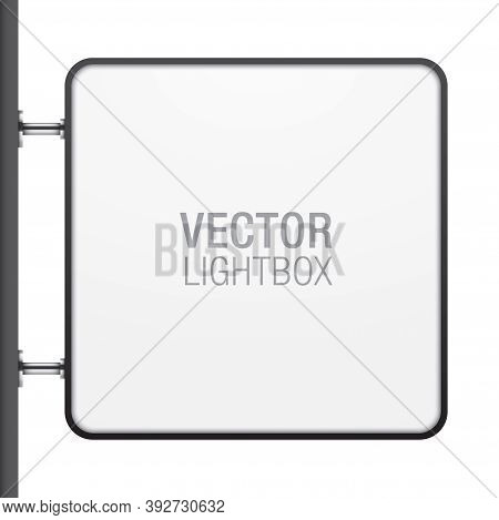 Square Shape Lightbox, Hanging On The Wall. Store, Or Shop Signboard With Metallic Hangers And Black