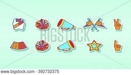 Cheerleading Icons Set Vector. Cheerleaders Accessories. Pompoms, Balloons, Confetti, Megaphone. Iso