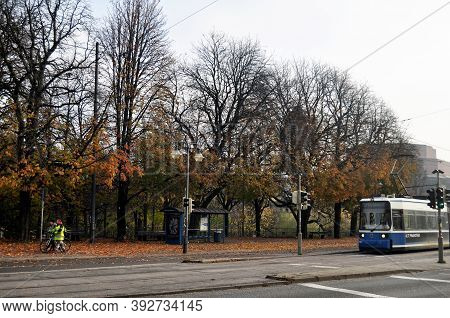 Aerial View Landscape Cityscape Of Munich City With Traffic Road And  Tramway Bus Go To Destination