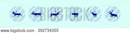 Set Of Deer Or Caribou Cartoon Icon Design Template With Various Models. Vector Illustration Isolate
