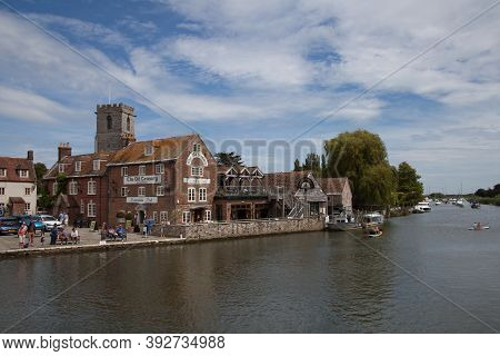 The River Frome And Buildings Beside It In Wareham, Dorset In The Uk, Taken On The 23rd July 2020