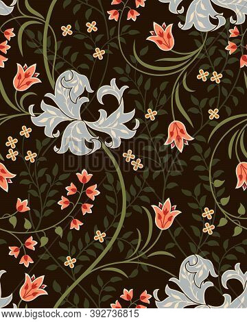 Vintage Floral Seamless Pattern With Big Futuristic Flowers, Tulips And Foliage On Dark Background.
