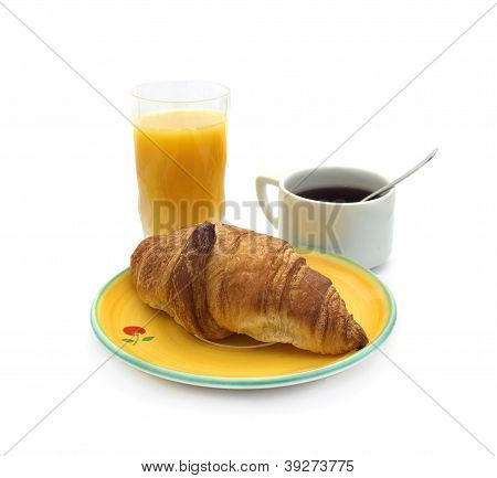 breakfast concept : Croissant, coffee and orange jus