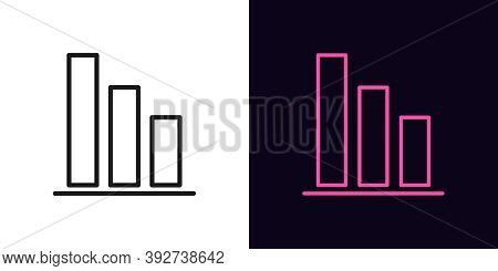 Outline Downfall Graph Icon. Linear Drop Diagram Sign, Down Bar Chart With Editable Stroke. Financia
