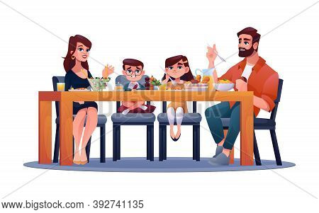 Parents With Children At Table, Mother, Father And Kids Enjoy Dinner Together. Vector Happy Family H