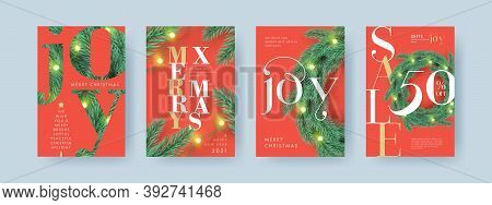 Merry Christmas And Happy New Year Set Of Backgrounds, Greeting Cards, Sale Posters, Holiday Covers.