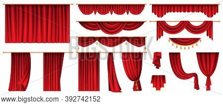 Set Of Red Curtains Isolated Decorative Stage Cloth. Vector Luxury Cornice Decor, Domestic Fabric In