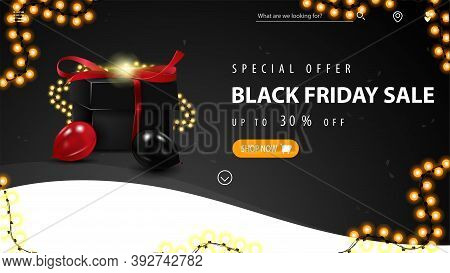 Special Offer, Black Friday Sale, Up To 30 Off, Black And White Discount Banner With Button, Garland