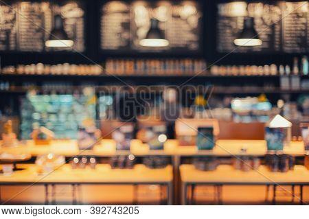 Abstract Blurred Restaurant Lights Background,  Retro Cafe Restaurant.