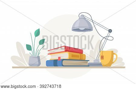 Stack Of Books, Lamp, And Cup Of Tea, Green Plant In Pot Isolated. Vector Desk With Textbooks Or Enc