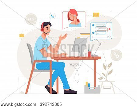 Call Center Online Customer Service Isolated Man Support Center Worker Sitting On Chair At Table And
