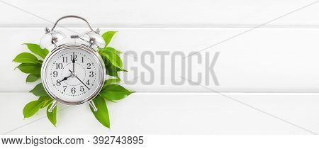 Morning Concept: Alarm Clock And Green Leaves On White Wooden Background, Top View, Copy Space.