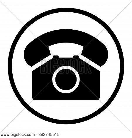 Old Phone In Black Circle Flat Icon Isolated On White Background. Hotline Symbol. Telephone Vector I