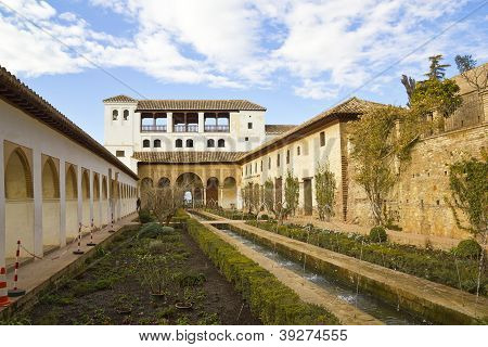 The Court Of La Acequia In Generalife Palace.