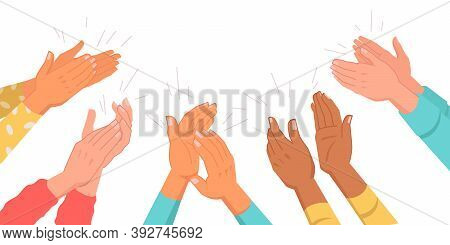 Set Of Clapping Hands Isolated Multinational Various Skin Color Palms. Vector Applauding People, App