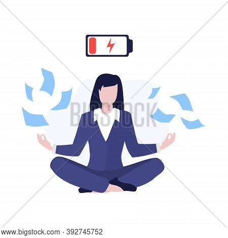 Vector Worker Girl Or Business Woman In Suit Sitting On Floor In Lotus Pose With Flying Around Docum