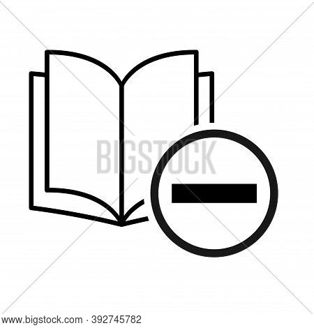 Book Icon, Minus Open Education Textbook, Library Vector Illustration Symbol. Learning Design Isolat