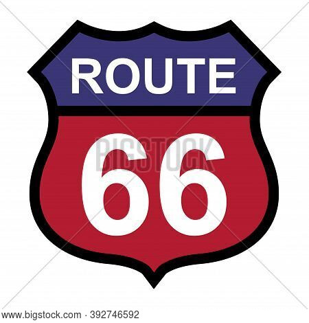 Route 66 Classic Icon, Travel Usa History Highway, America Road Trip Vector Background