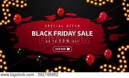 Special Offer, Black Friday Sale, Up To 50 Off, Red Discount Banner With Abstract Regged Shape With