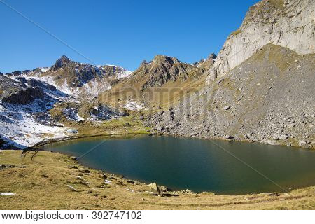 Casterau Lake. Ayous Lakes in Ossau Valley, Pyrenees National Park, Pyrenees in France.