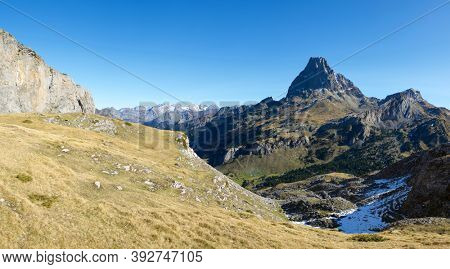 Midi Dossau Peak in Ossau Valley, Pyrenees National Park, Pyrenees in France.