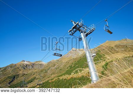 Chairlift at the Astun ski station, Pyrenees, Huesca province, Aragon in Spain.