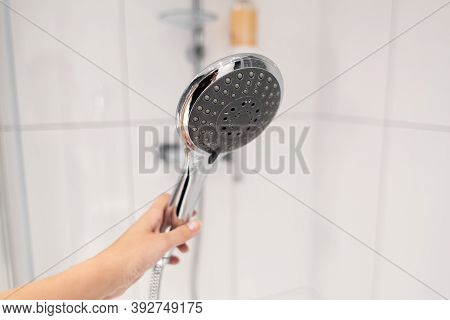 Chrome Plated Shower Head, Shower Treatments. The Girl Takes A Shower. Shower Accessories.