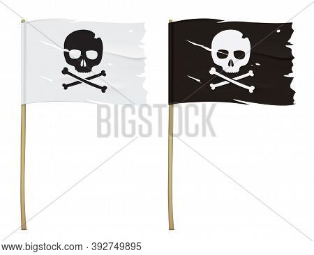 Jolly Roger Flag Isolated On A White Background. Set Of White And Black Torn Pirate Flags With A Sku