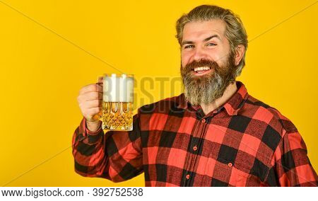 Happy Birthday Concept. Make Sip. Leisure And Celebration. Man Drinking Beer In Pub. Beer Brewery. H