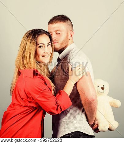 Handsome Man And Pretty Girl In Love. Man And Woman Couple In Love. Romantic Surprise. Valentines Da